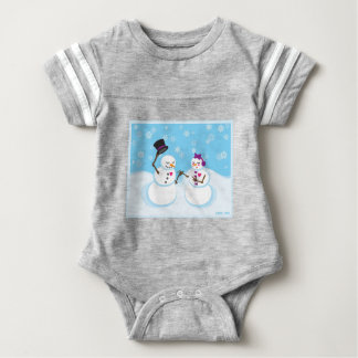 Snowman and Snowgirl Romance Baby Bodysuit