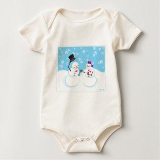 Snowman and Snowgirl Romance Baby Bodysuit