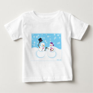 Snowman and Snowgirl Romance Baby T-Shirt