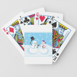 Snowman and Snowgirl Romance Bicycle Playing Cards