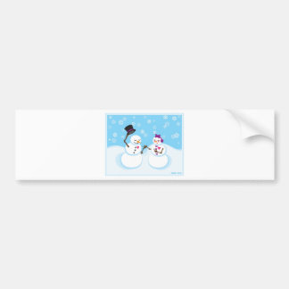 Snowman and Snowgirl Romance Bumper Sticker