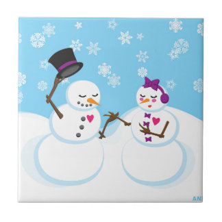 Snowman and Snowgirl Romance Ceramic Tile