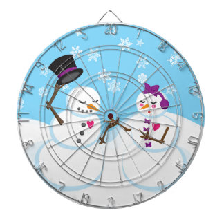 Snowman and Snowgirl Romance Dartboard