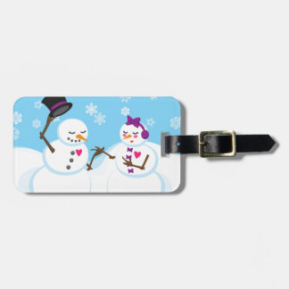 Snowman and Snowgirl Romance Luggage Tag