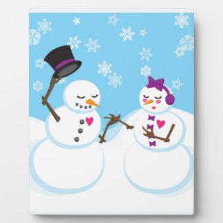 Snowman and Snowgirl Romance Plaque