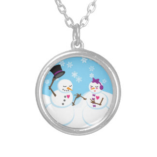 Snowman and Snowgirl Romance Silver Plated Necklace
