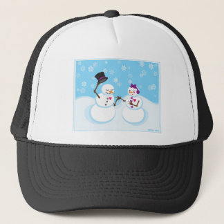 Snowman and Snowgirl Romance Trucker Hat