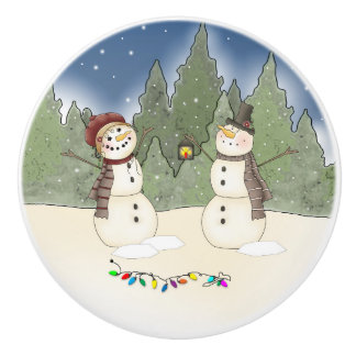 Snowman and SnowLady Checking out Christmas Lights Ceramic Knob