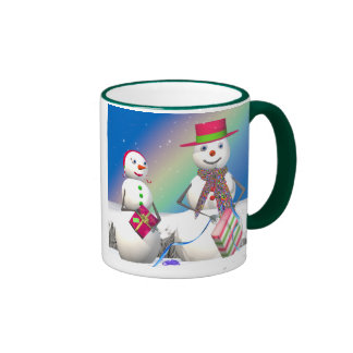 Snowman and Wife Open Christmas Gifts Mugs