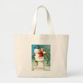 Snowman Angel Cherub Four Leaf Clover Jumbo Tote Bag
