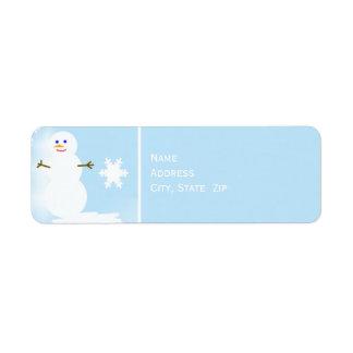 Snowman at Christmas Return Address Label