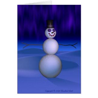 Snowman at Night Card