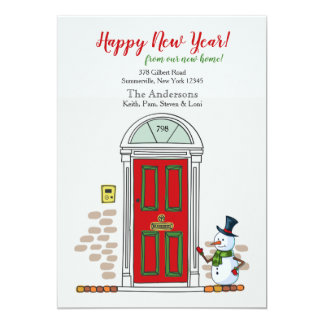 Snowman At The Door New Year Moving Announcement