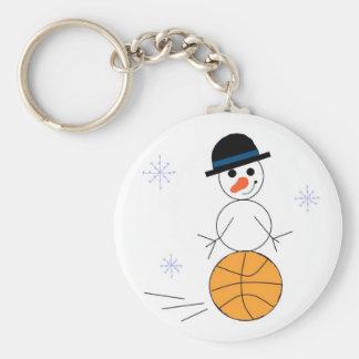 Snowman Basketball Player Key Ring