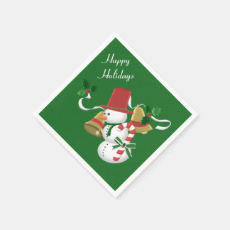 Snowman Bells Christmas Disposable Napkin