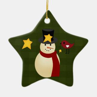 Snowman Bird and Stars Christmas Ornament