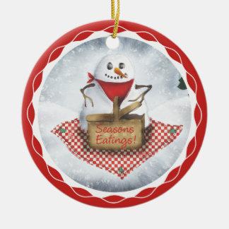 snowman blizzard picnic Christmas tree ornament