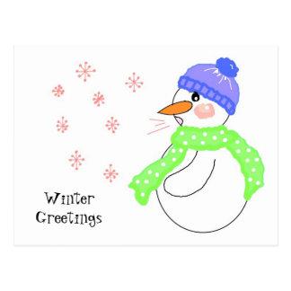 Snowman Blowing Snowflake Greetings Postcard