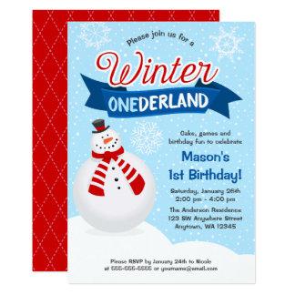 Snowman Boy Winter ONEderland 1st Birthday Invite
