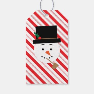 Snowman Candy Cane Stripe Christmas Gift Tags