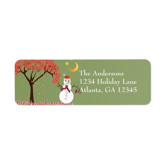 Snowman Candycane Tree on Deep Burgundy Return Address Label