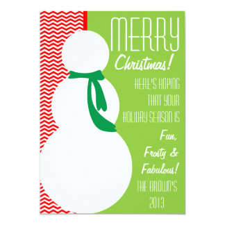 Snowman Card with fun chevron pattern Personalized Invitation