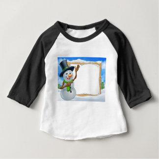 Snowman Cartoon Christmas Sign Baby T-Shirt