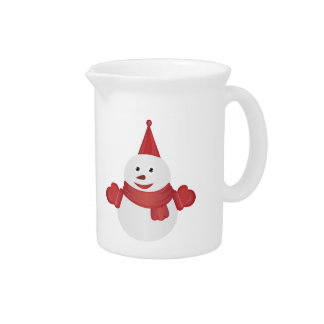 Snowman cartoon pitcher