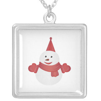 Snowman cartoon silver plated necklace