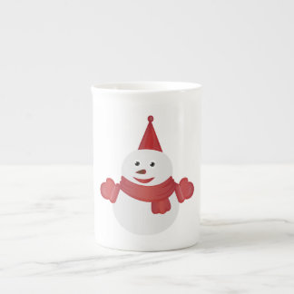 Snowman cartoon tea cup