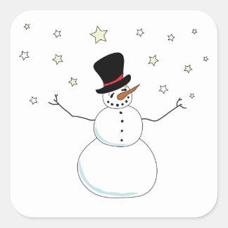 Snowman Celebration Square Sticker