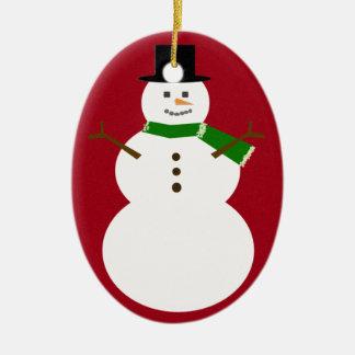 Snowman Ceramic Oval Decoration