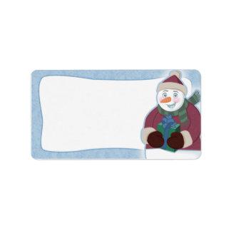 Snowman Christmas Address Labels Blank