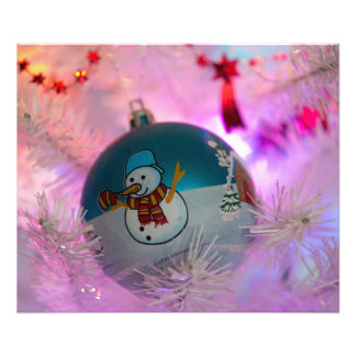 Snowman - christmas balls - merry christmas photo print