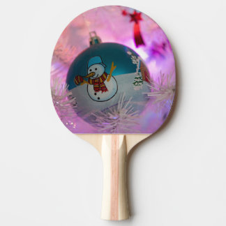 Snowman - christmas balls - merry christmas ping pong paddle