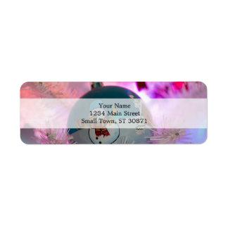Snowman - christmas balls - merry christmas return address label