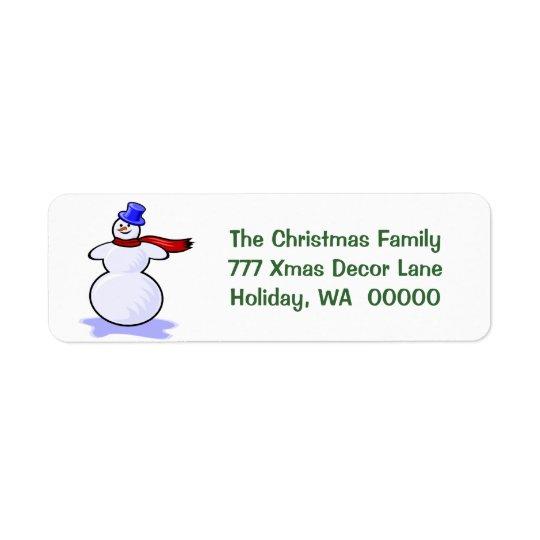 Snowman Christmas Cards Return Address Stickers