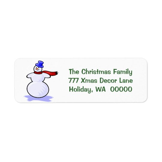 Snowman Christmas Cards Return Address Stickers Return Address Label