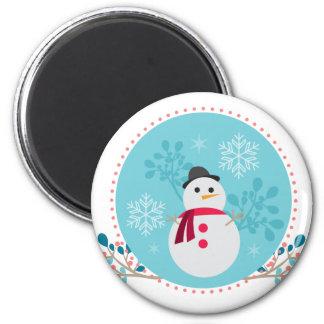 Snowman Christmas Cute Unique Turqoise Blue 6 Cm Round Magnet