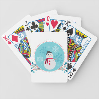 Snowman Christmas Cute Unique Turqoise Blue Bicycle Playing Cards