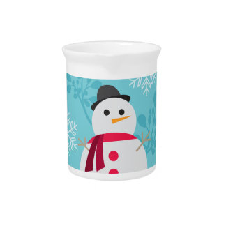Snowman Christmas Cute Unique Turqoise Blue Pitcher