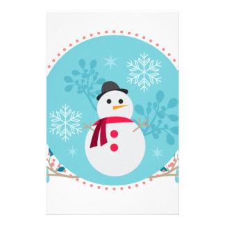 Snowman Christmas Cute Unique Turqoise Blue Stationery Paper