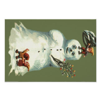 Snowman Christmas Elves Christmas Lights Poster
