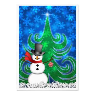 Snowman Christmas Ornament Snowy Night Greeting Ca Custom Invitations