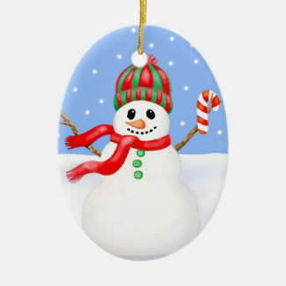 Snowman Christmas Ornament with Candy Cane