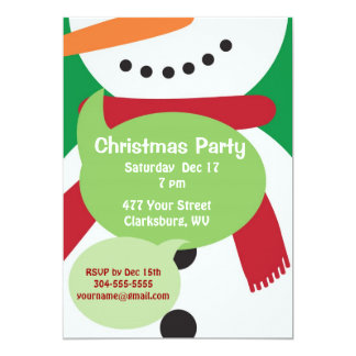 Snowman Christmas Party Card