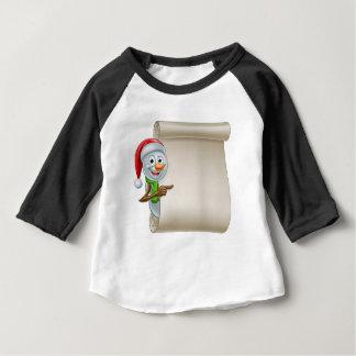 Snowman Christmas Scroll Baby T-Shirt