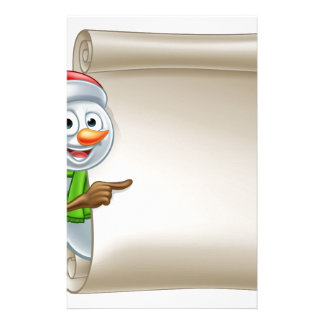 Snowman Christmas Scroll Stationery Paper
