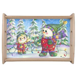 Snowman Christmas tray