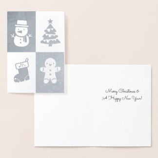 Snowman Christmas Tree Gingerbread Man Silver Foil Foil Card